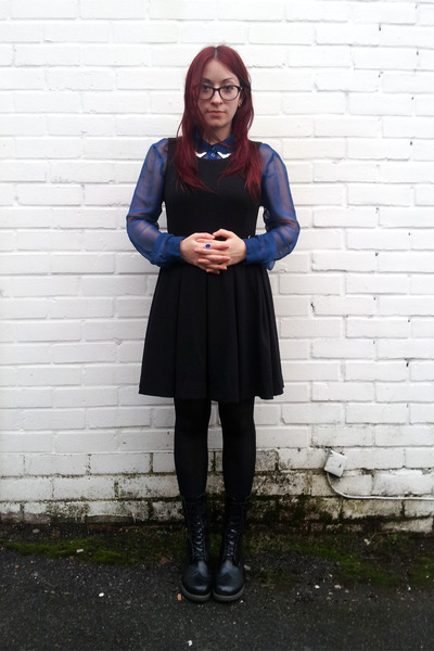 black pinafore H&M dress - black wingtip Dr Martens boots - blue sheer H&M shirt