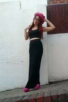black maxi H&M dress - hot pink straw cat ear OASAP hat - black crop Primark top