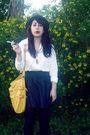White-chanel-jacket-blue-walmart-skirt-gold-target-purse-gold-vintage-neck