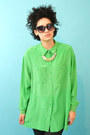 Vintage-inspired-necklace-lime-green-silk-vintage-liz-claiborne-blouse