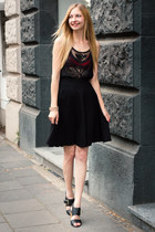 midi skirt H&M skirt - lace top H&M top - American Apparel bra