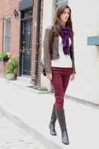 crimson oxblood Zara jeans - dark brown Born On Concept boots