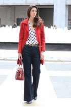 white polka dot Zara blouse - red Old Navy coat - navy vince jeans