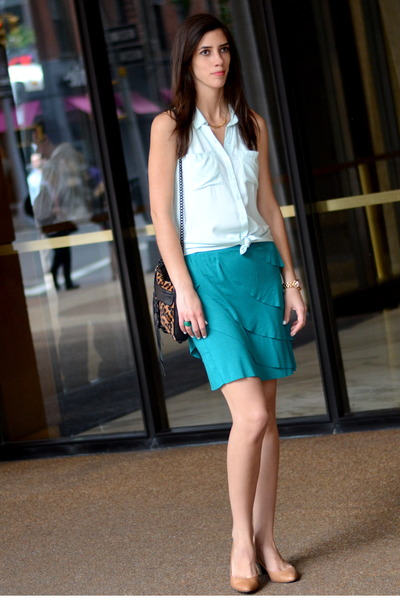 teal Anthropologie skirt - bronze leopard print Rebecca Minkoff bag