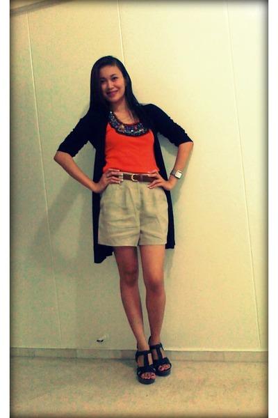 beige Forever 21 shorts - carrot orange orange top - black black Zara cardigan