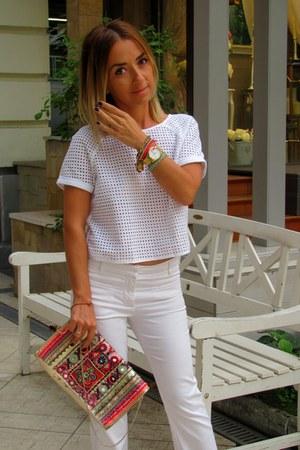 off white Stradivarius shirt - hot pink Accessorize bag