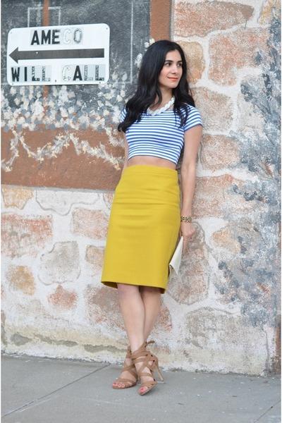 mustard J Crew skirt - camel Shoedazzle heels - blue Topshop top