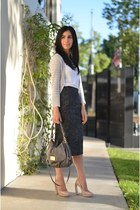 dark gray Anthropologie skirt - charcoal gray Marc by Marc Jacobs bag