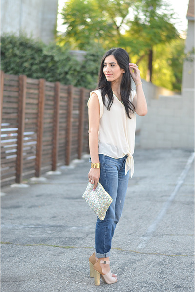 gold Mi Piaci bracelet - navy Gap jeans - chartreuse Zara bag