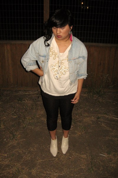 Guess - thrifted jacket - thrifted - philippines top - Wet Seal leggings - Buffa