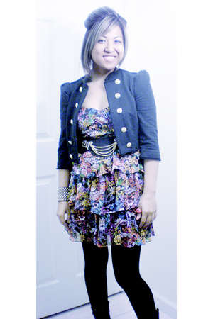black Forever21 jacket - black Deena & Ozzy at UrbanOutfitters belt - red access