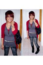 red Forever21 cardigan - gold necklace - gold necklace - gold bracelet - black B