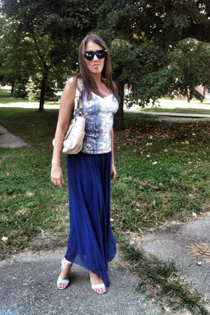 blue maxi skirt OASAP skirt - off white leather rosetti bag