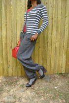 cardigan - red leather epi LV bag - grey socks - ruby red t-shirt