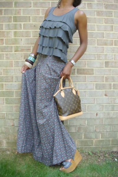 grey leather wedges - lv bag - floral skirt - ruffled top - fendi watch