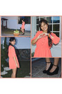 Salmon-vaintage-dress-black-payless-wedges