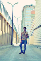 gold Zara shirt - brick red sebago H&M pants - blue jeans Bershka flats - yellow