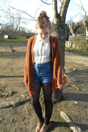 cream chiffon ark shirt - high waisted Topshop shorts - rust Primark cardigan