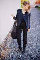 blue Eple & Melk jacket - black leather unisa boots