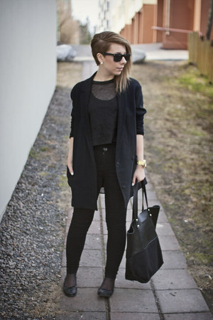black wool COS blazer - black skinny jeans Dr Denim jeans