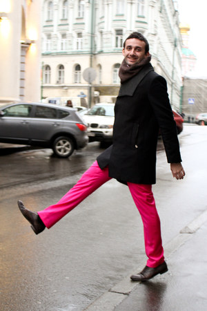 hot pink Versace for H&amp;M pants - brick red Gucci boots - black Zara coat