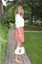 ivory H&M blouse - cream coach bag - carrot orange H&M skirt