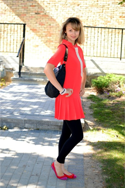 white material girl necklace - red Vero Moda dress - black H&M leggings