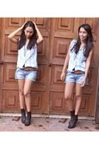 denim top blouse - Denim Shorts shorts