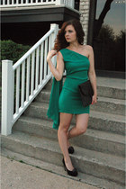 green grecian Poleci dress - dark gray clutch thrifted purse