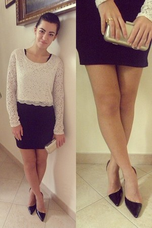black H&M dress - cream lace H&M sweater - cream clutch Carpisa bag