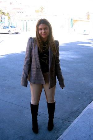 Zara jacket - charles boots - Zara leggings - Zara blouse