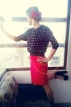pencil skirt Forever 21 skirt - red bow Forever 21 hair accessory
