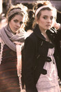 Dark-gray-topshop-coat-heather-gray-knitted-calvin-klein-scarf