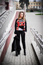 black nike jacket - black Terranova pants - red River Island blouse