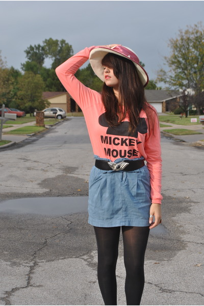 pink mickey mouse Urban Outfitters sweater - pink church Salvation Army hat