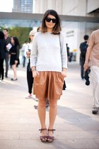 leather unknown skirt - brown leather Hasbeens shoes - wool bitten cardigan
