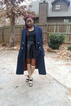 black cotton H&M top - navy Bert Newman coat - black leather unknown brand skirt