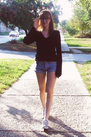 heather gray denim shorts Levis shorts - black sweater