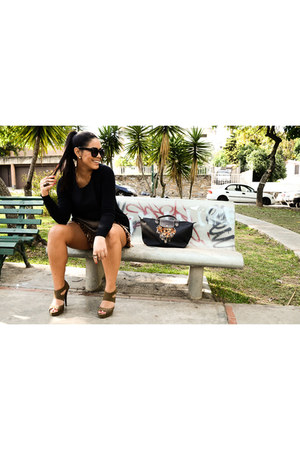 black longchamp bag - flecos vintage shorts - black Zara cardigan