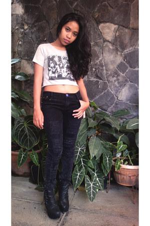 Preloved shirt - lolita boots - Preloved pants