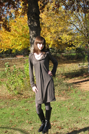 gray Tulle dress - black St Johns Bay boots - gray tights - white necklace - bla