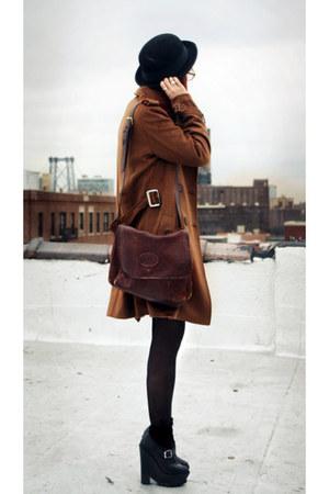 long brown coat coat - bag