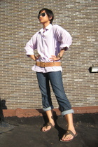 Brooks Brothers shirt - thrifted belt - Red Engine jeans - Kors by Michael Kors