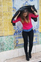 black romwe boots - black Bershka jeans - black Pimkie jacket - hot pink sweater