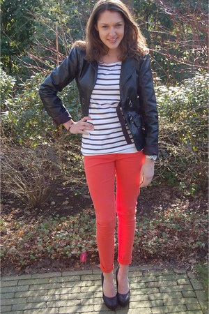 leather Vero Moda jacket - striped H&M t-shirt - H&M pants - Tango heels - Micha