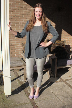 heather gray pieces jeans - charcoal gray H&amp;M blazer - charcoal gray H&amp;M t-shirt