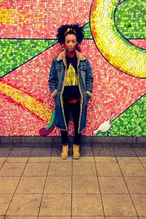 black Forever 21 jeans - Timberland boots - vintage Steve Madden coat