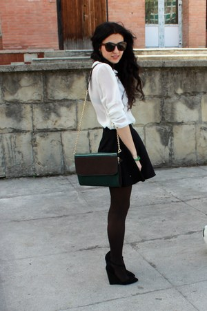 black asos sandals - dark brown Calzedonia tights - black H&amp;M skirt