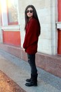 Dark-gray-bershka-jeans-crimson-alcott-cardigan-tan-guess-accessories