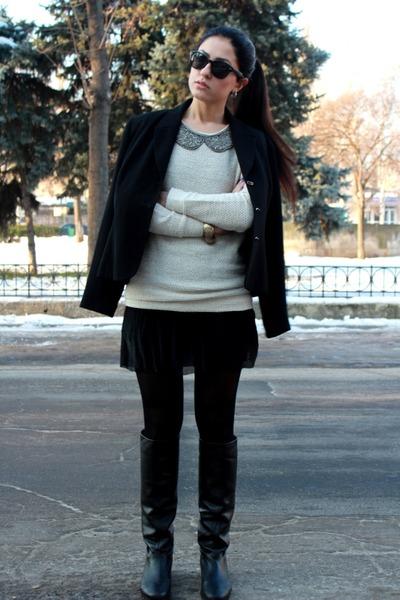 black Basconi boots - black ellen kloss jacket - mustard miss selens blazer